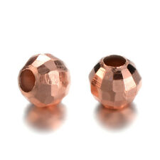 50pcs Rose Gold Brass Round Metal Beads Faceted Disco Ball Loose Spacers 4mm DIA