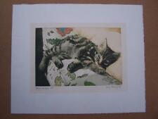 Etching -Mary Fenoughty - Kitty on the sofa - unmounted and unframed - Cat Cats