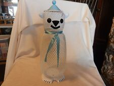"15"" Tall Metal White with Blue Hanging Bear Potpourri Holder or Bird Feeder"