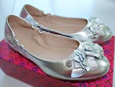 NIB Authentic TORY BURCH Blossom Leather Ballet Flat in Silver Sz 8.5 $250