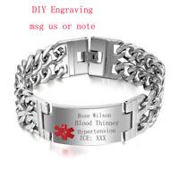 Men Stainless Steel Emergency Medical Alert ID ICE Chain Bracelet Free Engraving