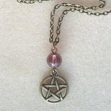 "Bronze Pentagram and Purple Quartz Bead 18"" Chain Necklace - Wicca Pagan Witch"