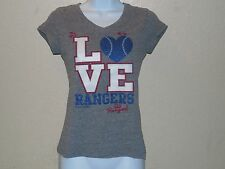 Texas Rangers Love Go Rangers Glittery MLB T-Shirt Juniors Petite Small 14