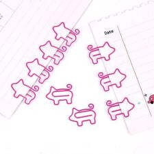 10pcs Cartoon Pig Animal Pink Bookmark Paper Clip Metal Clips Stationery Gifts
