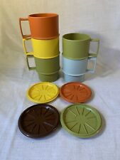Vintage 1970's Tupperware Harvest Stacking Mugs with Coasters Lot
