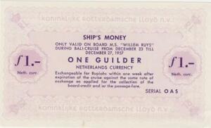 """Netherlands 1 Gulden Schiffsgeld Netherlands East Indies Rotterdam Lloyd """" Will"""