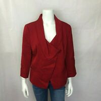 Lafayette 148 Blazer Jacket 12 Womens Red 3/4 Sleeves Brocade Textured Lined