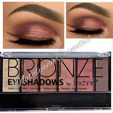Technic BRONZE 6 EYeshadow Palette nude Cream Brown Beige Dark Smokey FREE P&P