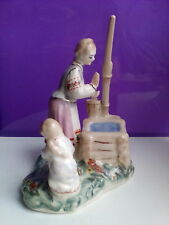 Ukrainian mother and girl at the well folklore Russian porcelain figurine 8857u
