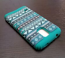 For Samsung Galaxy S5 - HARD&SOFT RUBBER HYBRID SKIN CASE TURQUOISE GREEN AZTEC