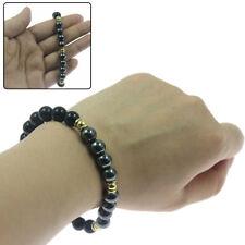 Black Onyx and Hematite Natural Beaded Bracelet Chakra Healing Men Women Jewelry
