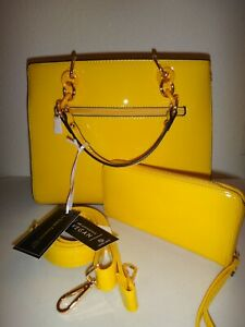 La Terre Fashion 2-PC SET Satchel Hand Bag & Wallet Yellow Faux Patent Leather