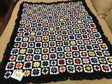 Handmade Afghan Throw Blanket Designer Collection - Technicolor in Black & White