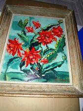 """GUILLOT Abel (1908-1970) Huile encadrée sur panneau isorel  """"Les cactus"""" 1950"""