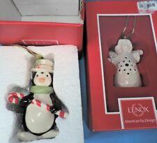 "2 Lenox Christmas Ornaments ""Angel Wishes Snowflake Bell"" & Penguin (Mib)"