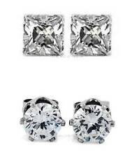 1 PAIR CZ CLEAR SQUARE/ROUND MAGNETIC Clip-On EARRINGS STUDS Men Women