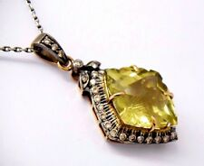Lemon topacio diamante remolque cadena Collier 750 Gold 18k
