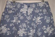 ladies misses 14 EUC linen/cotton JEANS blue white floral 29 inseam summer weigh