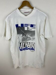 Vintage 90s Reebok Life Is Hard Sky Surfer Mens T Shirt Size L Crew Neck White