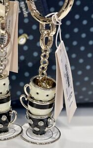 Kate Spade Alice In Wonderland Stack of Tea Cups Teacups Charm Keychain NWT