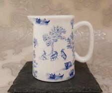 Bone China 1/4 Pint Jug Blue Game Keeper Pattern Hand Decorated Gift Idea