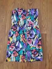 Minkpink Multicolor Strapless Dress Size Small Pockets Front Zip