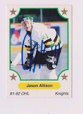 91/92 Jason Allison London Knights Autographed OHL Hockey Card