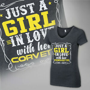 Just A Girl In Love With Her Corvette V Neck Vintage Gray Tee 604710
