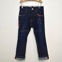 Jeans Scuro in Caldo Cotone Denim con Macchie di Pittura per Bambino Manuell&Fra