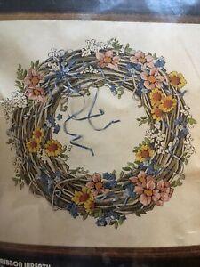 Blue Ribbon Wreath Dimensions Crewel#1270 Karen Avery 16x16 NIP Embroidery Kit