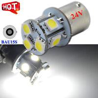 2x 24V White BAU15S 5050 8 LED Light Car Parker Turn Signal Indicator Globe Bulb