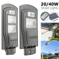 20W/40W LED Réverbère solaire Projecteur extérieur Motion Pole Wall Lamp BR