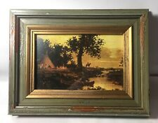 "Ralph Albert Blakelock Oil Painting Western Art Print 9""x7"" Framed Glass TeePee"