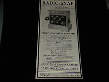 PUBLICITE  - RADIO SNAP - 1924 - PRESSE - ADVERTISING -