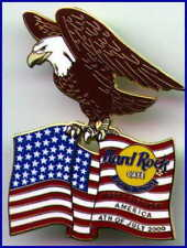Hard Rock Cafe HONG KONG 2001 July 4th PIN  Bald Eagle on USA Flag - HRC #3055