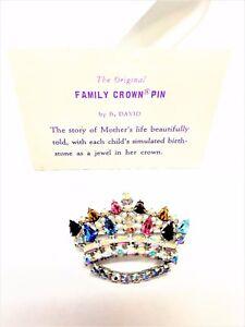 B David Family Crown Pin Vintage Brooch Plus Card.