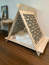 Cat House Pet Teepee Handcrafted Wooden Modern Lounge Shelter Perch