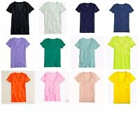 J.Crew Womens Vintage Cotton V-Neck Tee Slub Knit Top T-Shirt Sizes XXS-XL New
