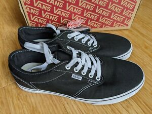 Vans Canvas Atwood Low Black/White 9.5 Women's Lace up Sneaker New with box