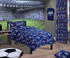 2 X Football Chiffres Géométrique Mélange de Coton Bleu King Size Housse Couette