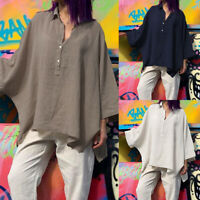 Women Button Batwing Sleeve Casual Solid Baggy Blouse Loose Oversized Shirt Tops