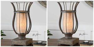 PAIR VINTAGE FARMHOUSE AGED METAL LANTERN STYLE TABLE LAMP DISTRESSED WOOD BASE