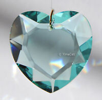 Aqua Blue Prism 28mm Faceted HEART Austrian Crystal Pendant over 1 inch
