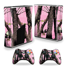 Skin Decal Wrap Cover for Xbox 360 S Slim + 2 controllers Pink Tree Camo