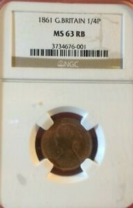 GREAT BRITAIN 1861 FARTHING 1/4P NGC MS63 RB British UNC Certified Coin