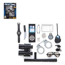 Police Play Set Kids Dress Up Kit 14 Piece Toy Pretend Boys Costume Gear Badge