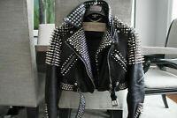 New Women Brando Style Black Silver Spiked Studded Punk Biker Leather Jacket