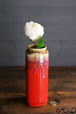 Handmade Red Ceramic Square Flower Vase Home Glossy Gift Rectangle Decorative