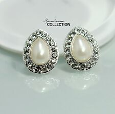 Costume Fashion Earring Clip Silver White Pearl Strass Tear Wedding Vintage J1