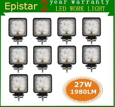 10X 27W Flood Square LED Work Light Off-road Boat Car Truck SUV 5D Lens Save 48W
